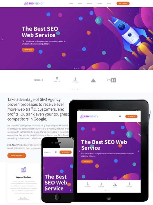 Free SEO Agency Elementor Template | 한국워드프레스랩